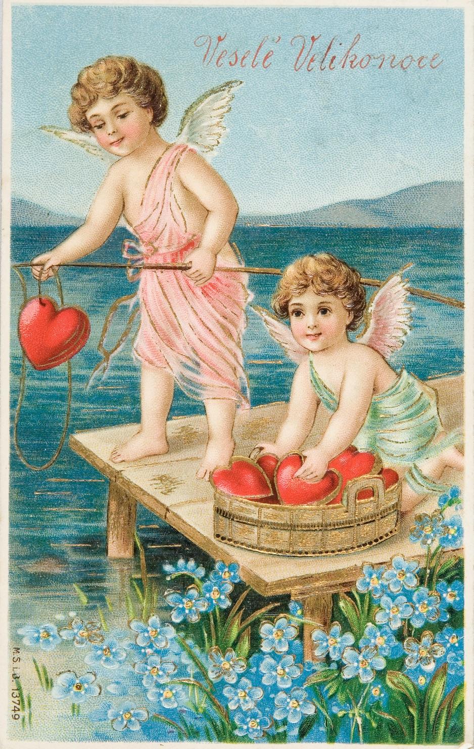 Dva andílcí loví z vody srdíčka. Nápis Veselé Velikonoce