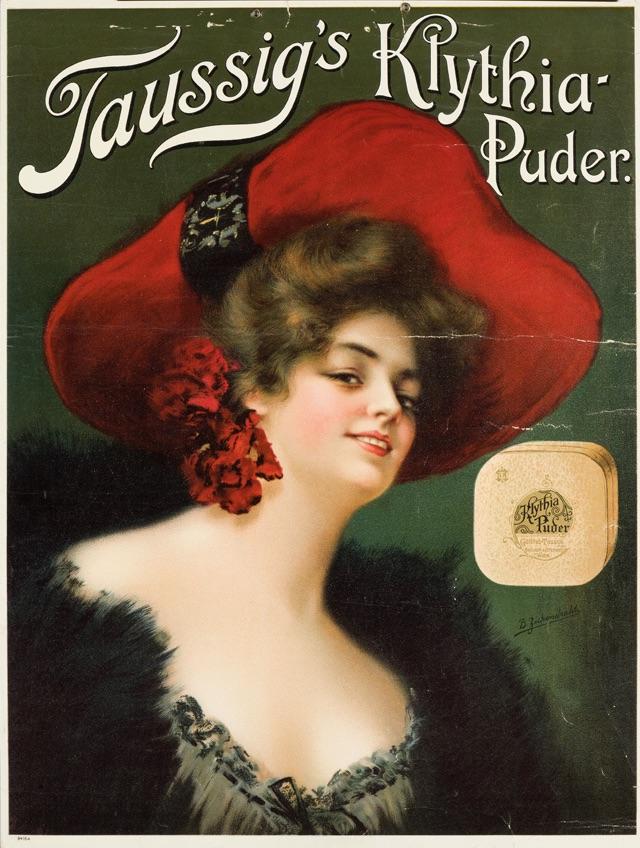 Žena v červeném klobouku, reklamní tisk