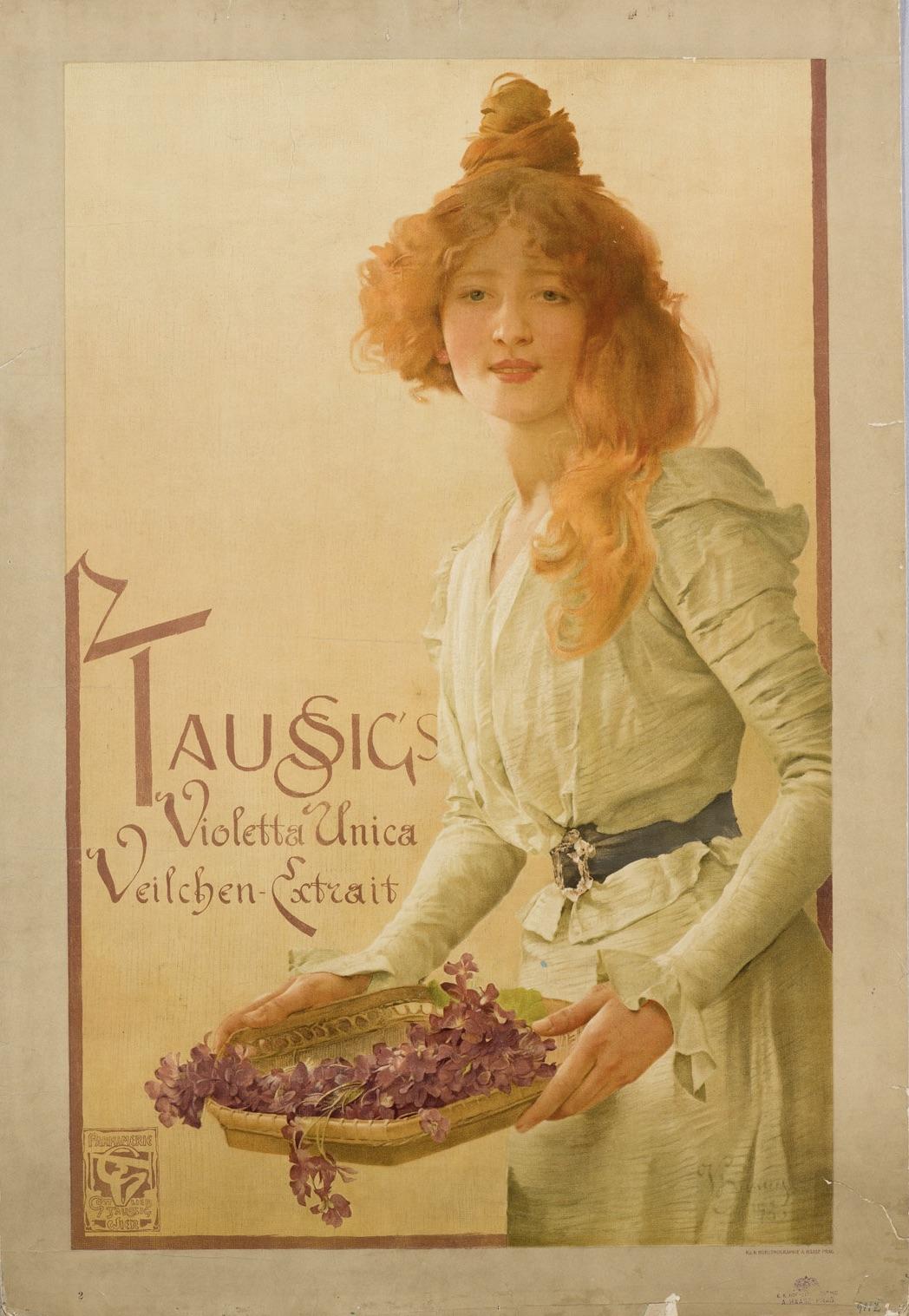 Dívka s rezavými vlasy s košíkem květů.