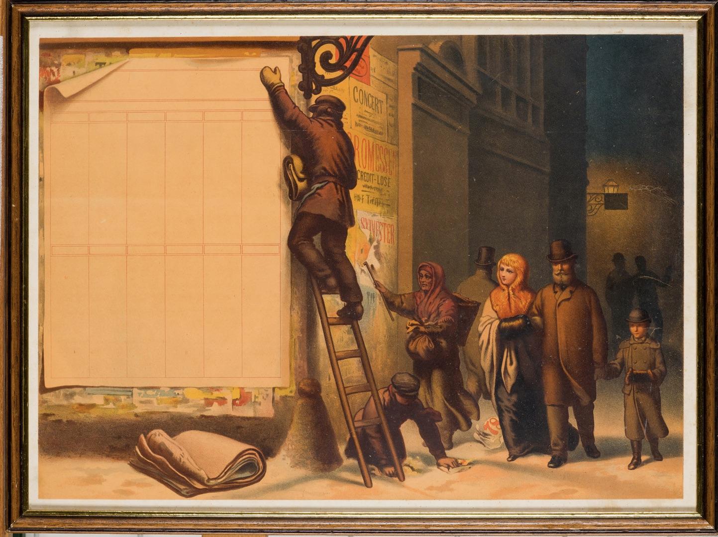 Muž stojící na nároží na žebříku a vylepující plakáty