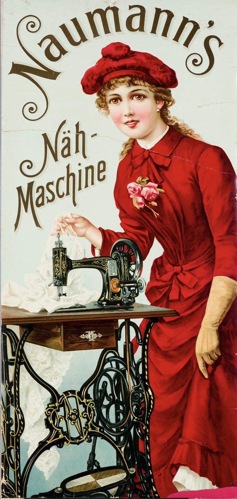 Dívka v červených šatech u šlapacího šisího stroje