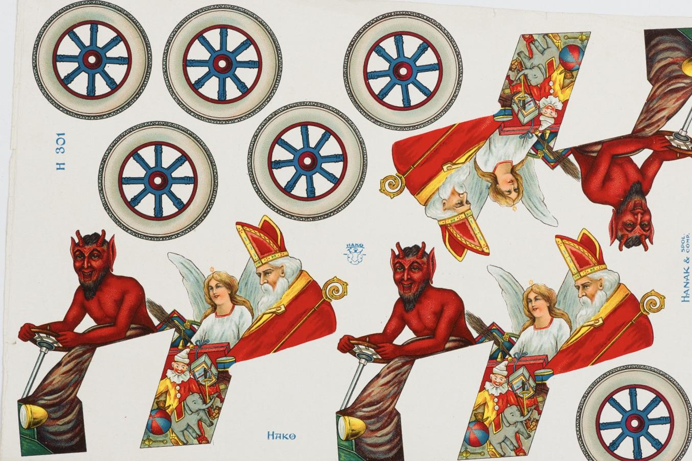 Obrázky koleček, čertů, Mikulášů a andělů