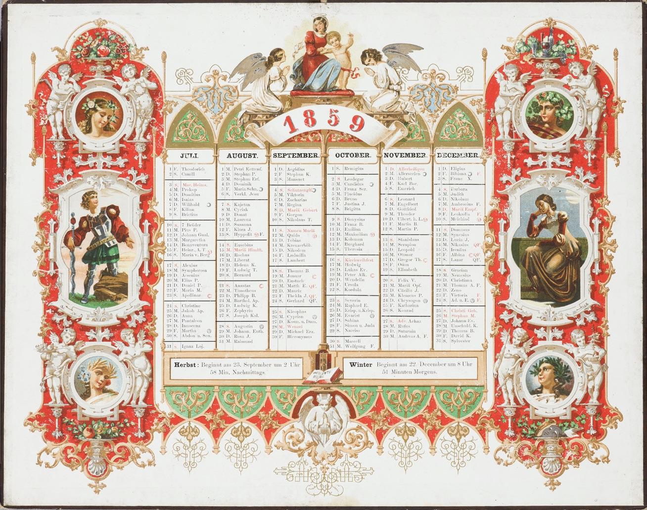 Bohatě zdobený kalendář na rok 1859 s postavami v historických kostýmech a ženskými hlavami s věnci