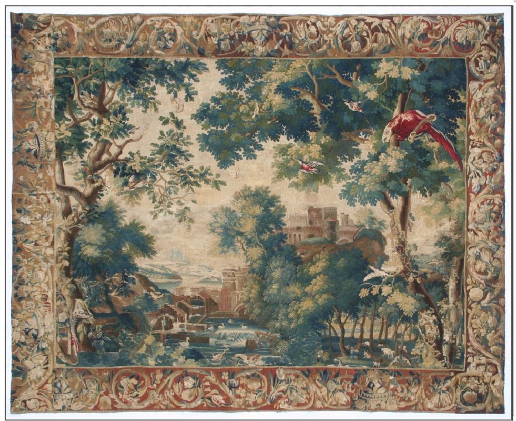 Tapiserie s vyobrazením hradu, rostlinnými motivy a výrazným papouškem v pravém horním rohu