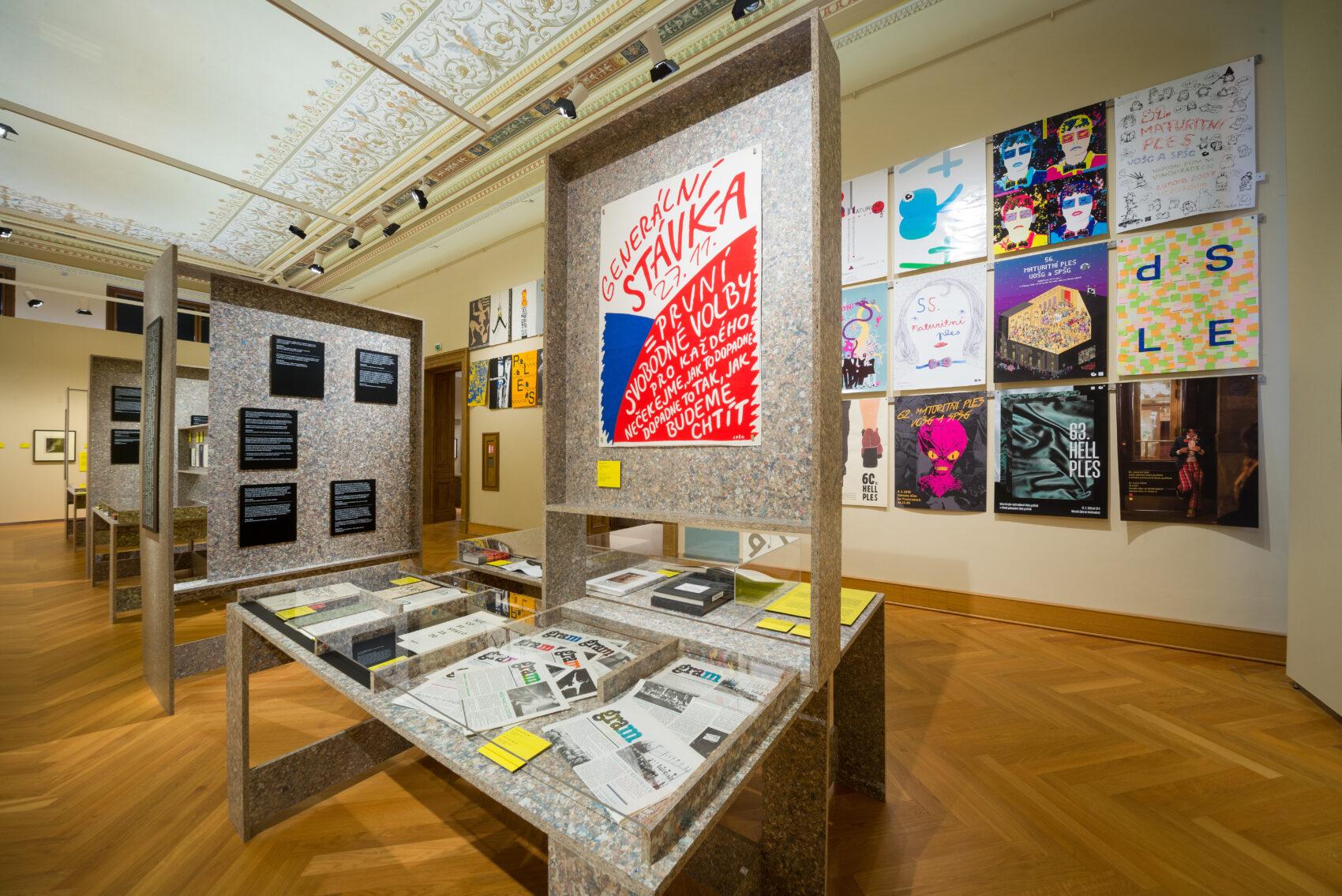 100 let grafické školy v Praze - pohled do expozice