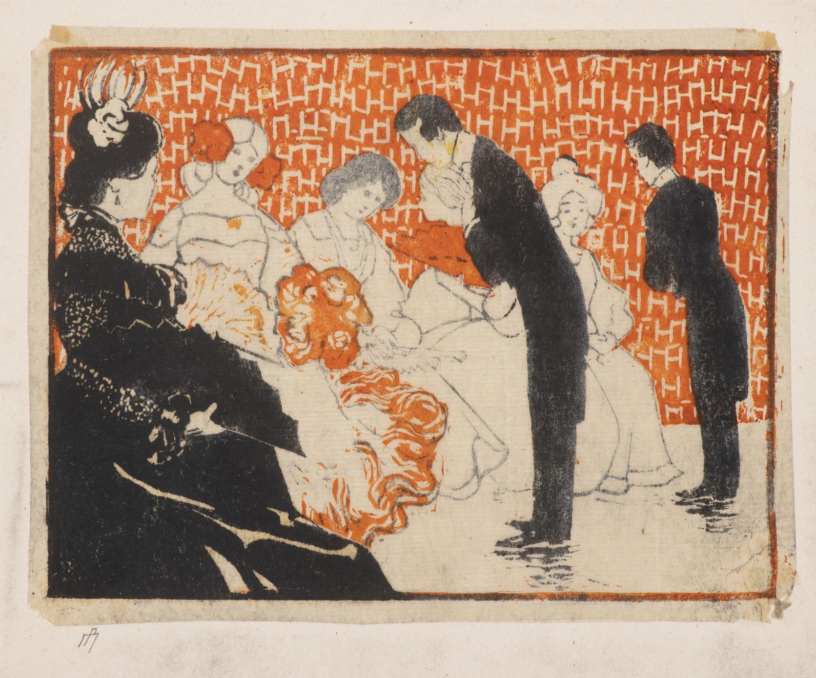 Čtyři sedící dámy, dvě z nich vyzývají pánové k tanci