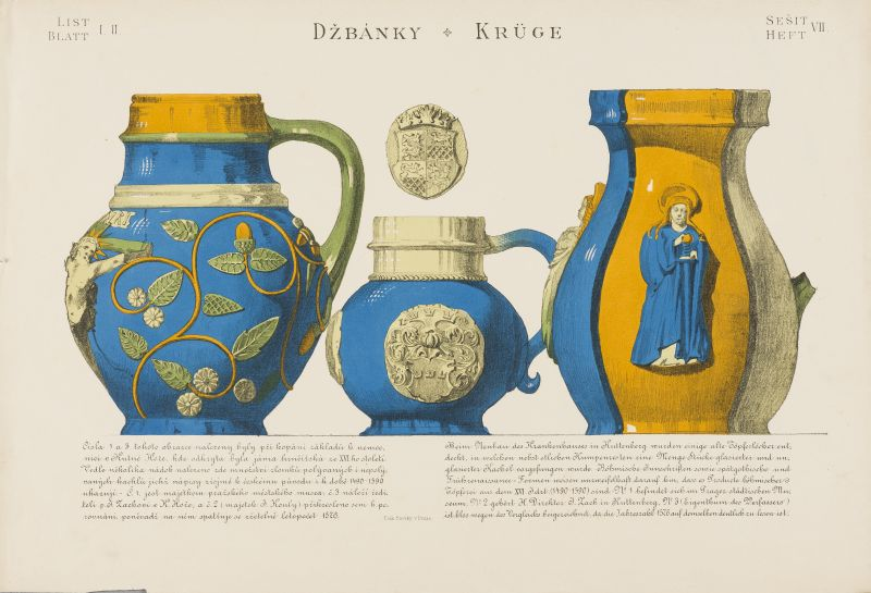 Barevná litografie tří džbánků v modro-žluté barvě