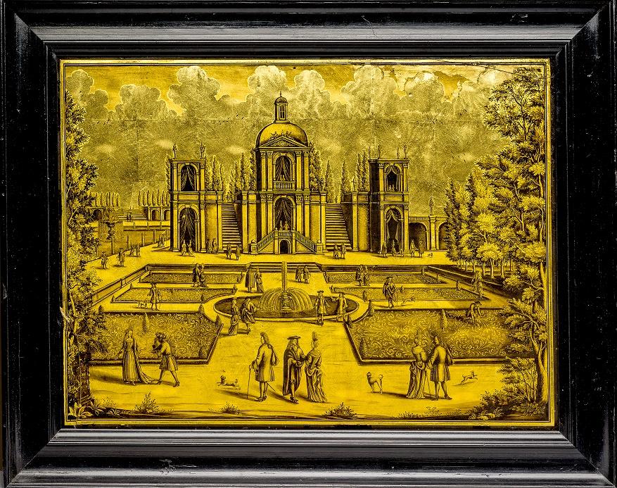 Podmalba z dílny Daniela a Ignáce Preisslerových s pohledem na francouzský zámek obklopený zahradou s drobnou figurální stafáží