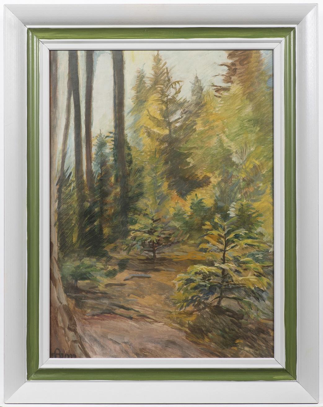 Realisticky vyvedená malba lesa
