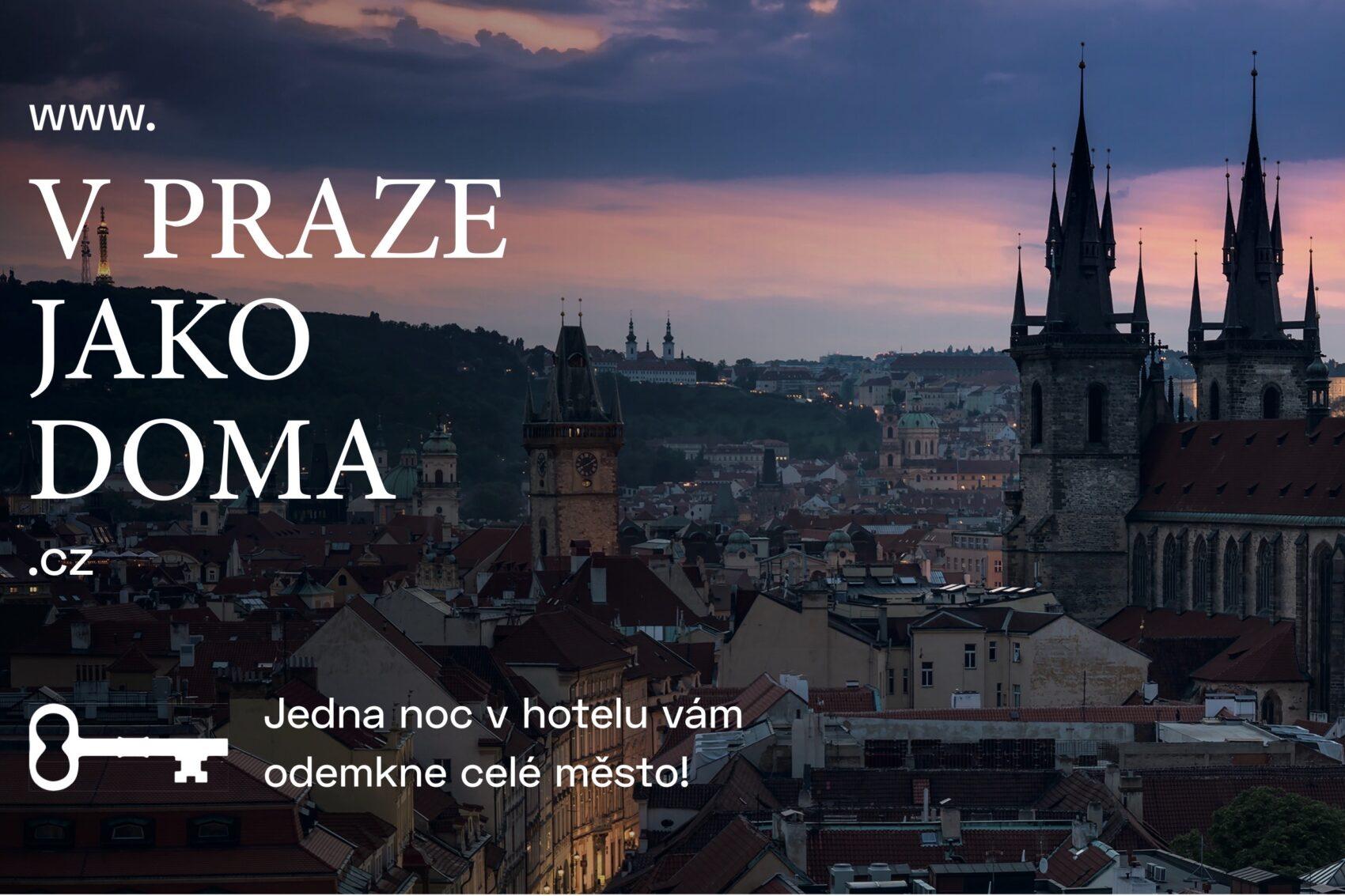 Reklama projektu V Praze jako doma, pohled na noční město